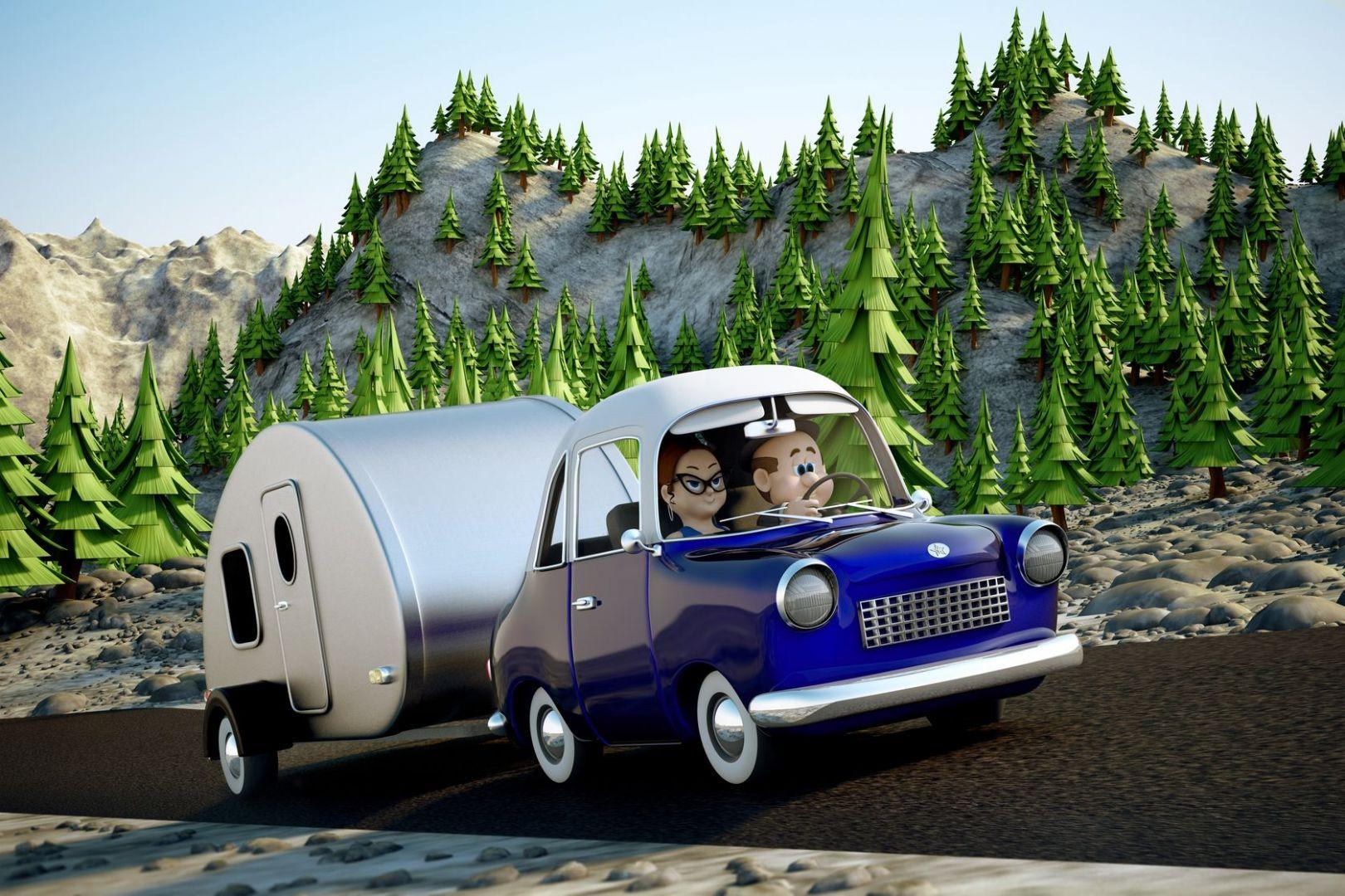 illustration conduite avec remorque ou caravane